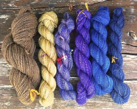 6 farver i shetlandsuld / 6 skeins of shetland wool